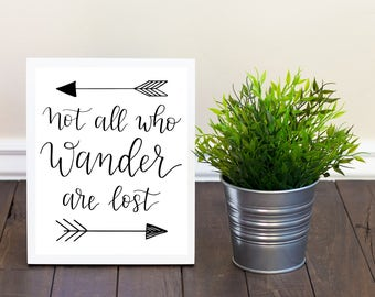 Not All Who Wander Are Lost Sign, Printable Wall Art, JRR Tolkien, Literary Quotes, Hand Lettered, Home Decor, Kids Room Decor, Gift