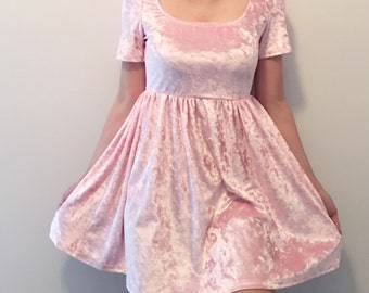 Goth Wednesday addams pink pastel velcet dress