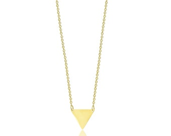 14K Solid Yellow Gold Custom Triangle Pendant Rolo Chain Necklace Set - Polished Charm