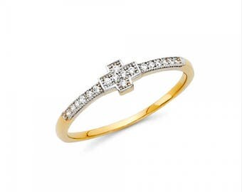 14K Solid Yellow Gold Cubic Zirconia Cross Ring - Polished Sideways Finger Band Women's