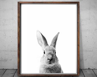Rabbit Print, Nursery Art Print, Black and White, Rabbit Wall Art, Woodlands Decor, Nursery Printable, Bunny Art, Rabbit Nursery, Animal Art
