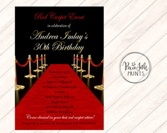 Red Carpet Invitations, Red Carpet Event Invitations, Hollywood Invitations, Red Carpet Printable, Red Carpet Birthday, Red Carpet Affair