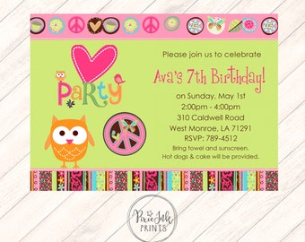 Peace Owl Birthday Invitation, Peace Invitation, Owl Invitation, Party Owl Birthday Invitation, Peace Birthday Party Printable,