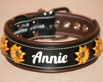 Leather Dog Collar with Leather Flowers - Handcrafted Leather Dog Collar-1&1/2 inch wide Real Leather with YOUR Pets Name - Feminine collar