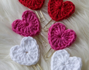 Crochet Valentine Hearts of 6 (paper clips, book marks)