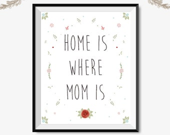 Home is where mom is, mother's day gift, printable art, mom print, mothers day gift, gift idea for mom, floral print, mother's day card, mom