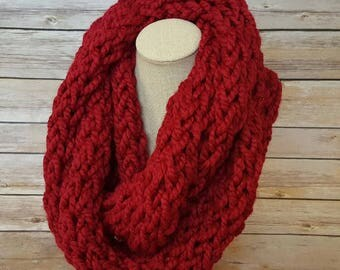 Red Winter Scarf, Knitted Wool Scarf, Chunky Cowl Scarf, Chunky Infinity Scarf, Warm and Cozy Scarf, Cranberry Knitted Scarf