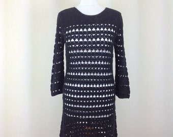 Woman boho WHISTLES dress black crochet