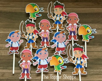 JAKE and the NEVERLAND PIRATES Cupcake Toppers / Cake Toppers / Die Cuts / Birthday Party / Decorations / Cake Pops / Fast Shipping