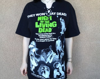 Night of the Living Dead Lace Up T-Shirt Size Large