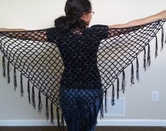 Black Metallic  Crochet Mesh Shawl/ Crochet Triangle Shawl/ Crochet Triangle Wrap/ Crochet Mesh Shawl/ Crochet Open Work Shawl/ Boho shawl