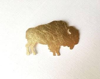 Golden brass brooch animal motif BUFFALO