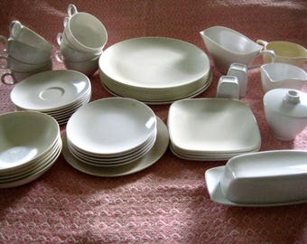 Melmac White Dinnerware, Assortment of 46 Pieces, Melamine Plastic, Oneida Deluxe, Vintage Kitchen 1950's