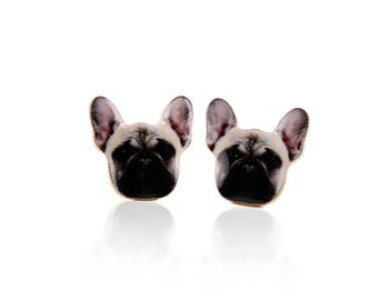 Lovely FRENCH BULLDOG Frenchie Earring Ear Stud Earrings BEAUTIFUL 1.2x1.6 cm