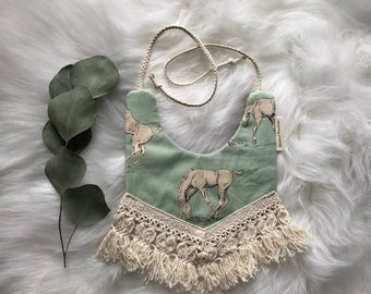 Horse bib/boho bib/cute bib/heirloom bibs