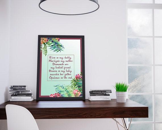 Lana Del Rey poster, Tropical art, Lana Del Rey art, Body Electric, Digital Art, Printable Art, Home decor,Wall decor, Inspirational Print