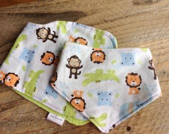 Flannel Baby bib, Baby burp cloth, animal print, dribble bib, drool bib, teething bib, baby bandana scarf, baby burp rag, contoured burp rag