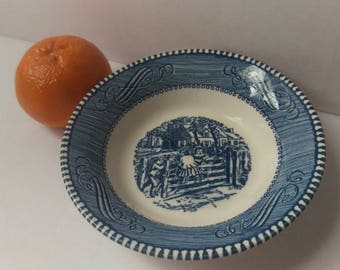 Currier And Ives Fruit Bowl Blue Transferware Old Farm Gate
