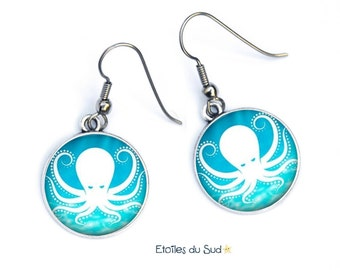 Octopus, blue earrings, bottom of the sea, ocean, surgical steel hooks / ref.298