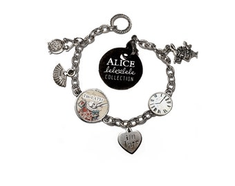 Bracelets with White Rabbit pendant and charms  - Alice in Wonderland Collection