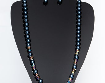 Metallic blue pearls with multicolor beaded necklace.