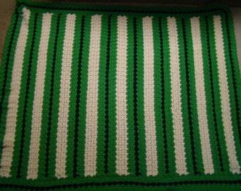 Afghan Handmade Green, Creme & Navy Yarn