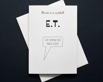 Funny E.T. card, E.T. movie card, E.T. film card, phone home card