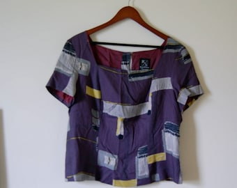 Vintage Amethyst Grey and Citron Abstract Modern Artsy Print Square Neck Blouse with Buttons Down the Back - PoMo Fashion - Made in USA