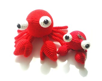 Crochet crab, stuffed crab toy, soft crab, plush crab, crab keychain, crochet sea animals, ocean animals toys, stress ball for child
