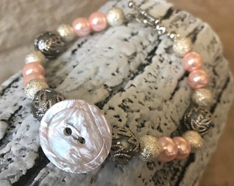 CLEARANCE Pink Button Bead Bracelet, Pink Ivory Bracelet, Pink Pearl Bracelet, Stardust Bead Bracelet, Wedding Bracelet, Gray Pearl Bracelet