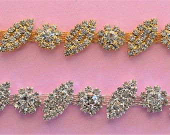 1 yard Rhinestone trim/ Rhinestone Chain/ Formal gown belt/ rhinestone Swarovski shine silver,gold and rose gold