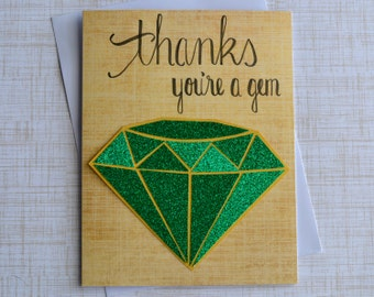 """Thank You Card, """"Thanks You're A Gem"""" Greeting Card, Handmade Thank You Card"""