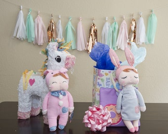 MeToo Sweet Dreams Angela Bunny Rabbit Baby Stuffed Doll with Gray Dress Me Too Doll