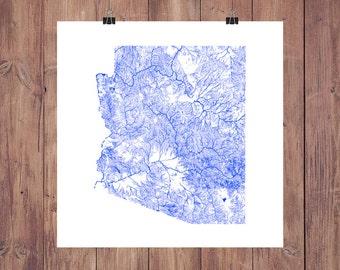 Arizona Map - High Res Digital Map of Arizona Rivers / Arizona Print / Arizona Art / Arizona Poster / Arizona Wall Decor / Arizona Gift