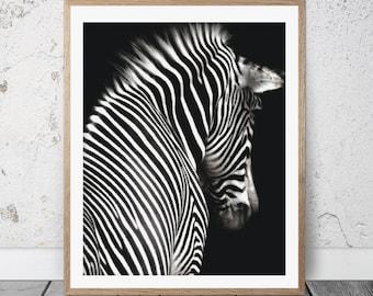 Zebra print wall art, Zebra wall print, Animal print, Safari animal print, Wall art print, Black and white prints, Home decor, Photo, FM-088