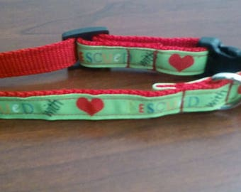 Adjustable Rescued with love dog collar