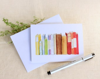 Single Watercolor Library Book Blank Note Cards Handmade Stationary Notecards Greeting Cards Teacher Gift Gifts for College Students