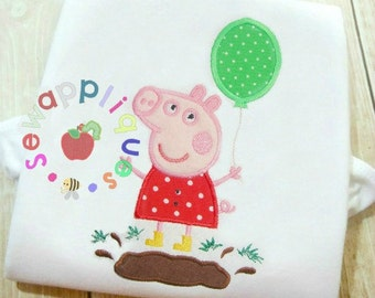 pig with balloon applique embroidery design 2 sizes 4x4 5x7 Bonus words + muddy puddles