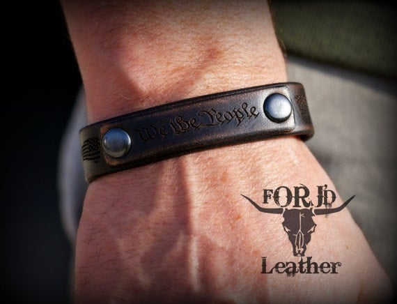 Unique Leather Bracelet, Vintage Leather Bracelet, We The People, 1776