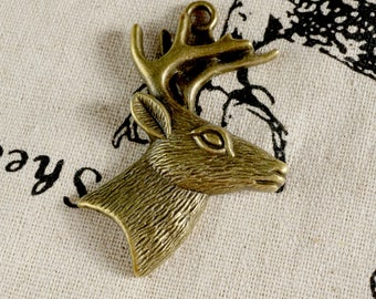 Stag head 3 charms bronze vintage style pendant charm jewellery supplies C209