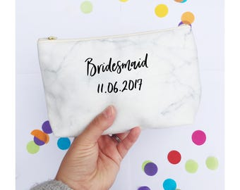 Bridesmaid gift, Personalised Makeup Bag, Bridesmaid Thank You Gift, Custom Makeup Bag, Zipper Pouch, Marble print, Handmade, Frazzleflorrie