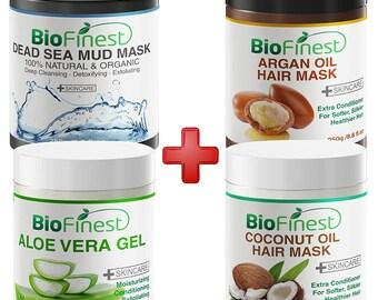 4-PACKBiofinest Argan Oil Hair Mask, Coconut Oil Hair Mask, Dead Sea Mud Mask, Aloe Vera Gel - with Coconut Oil, Argan Oil, Essential Oil