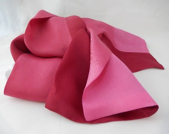 RED SKY silk scarf,  hand dyed gradation of pink to deep crimson.