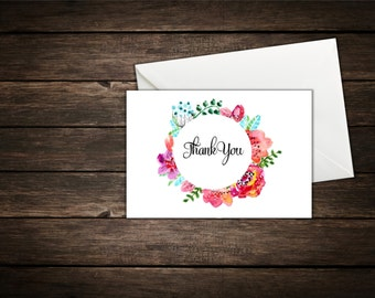 Bright Floral Thank You Card With Envelopes// Set of 25