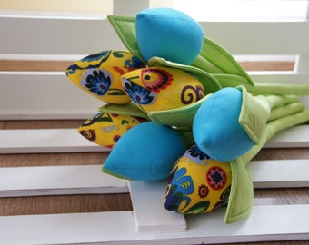 Fabric tulips, folk flowers, blue cotton