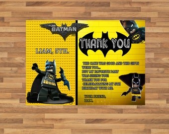 Lego Batman Superhero Birthday Party Thank You Card - Printable - Digital File - Thanks