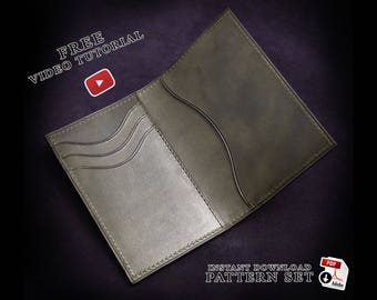 bifold card holder patterns+ video tutorial/instant download sewing patterns/ leathercraft templates