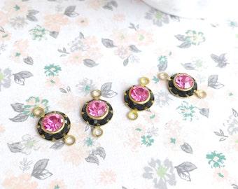 Vintage Swarovski | Jet Black and Pink | Rhinestone Cabochon | Jewelry Supplies | Swarovski Crystal Jewelry Findings | Crystal | 4 Pieces