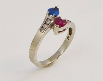 10k White Gold Red White & Blue Ruby Sapphire And Diamond Ring Size 6.25(01144)