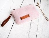 Pink pouch wallet Mini coin purse Small makeup bag Canvas zip money wallet Fabric zip coin purse Change pouch Wristlet money wallet